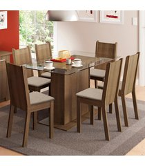 conjunto sala de jantar gales madesa mesa com 6 cadeiras marrom - marrom - dafiti