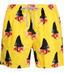 mc2 saint barth graphic-print swim shorts - yellow