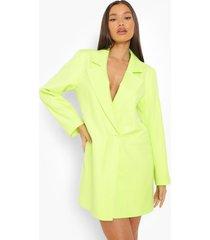 oversized neon blazer jurk, neon-lime