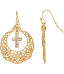 14k dipped hoop crystal cross drop earrings