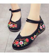 scarpe piatte da donna con fibbie in cotone ricamato con fiori folkways