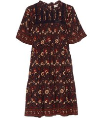 francesca print tiered tunic dress in purple