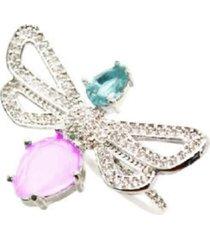 anel libélula cravejada com turmalina e quartzo rosa lapidada