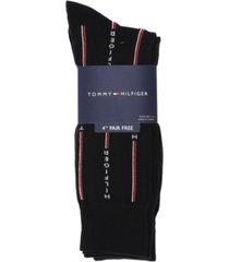 tommy hilfiger men's 4-pack logo pinstripe dress socks