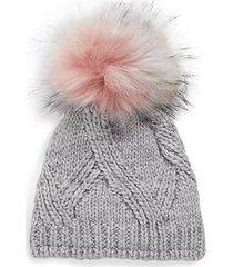 faux fur pom-pom wool-blend beanie