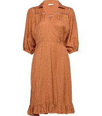 bubble jacquard skirt jurk knielengte oranje by ti mo