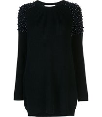michelle mason pearl embellished jumper dress - blue