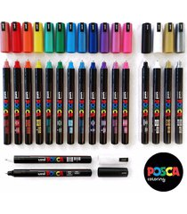 posca pc-1mr paint marker pen set of 18 - plastic wallet - extra black+white