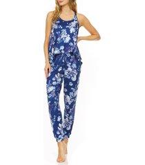 women's flora nikrooz floral print jogger pajamas, size x-small - blue
