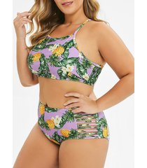 pineapple leaf strappy plus size lace-up bikini swimsuit