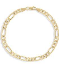 saks fifth avenue men's 14k yellow gold concave figaro link bracelet/4.75mm