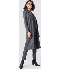 rut&circle dark check long jacket - grey