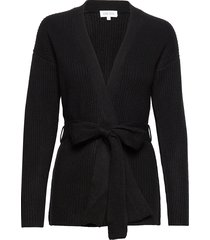 ribbed kimono gebreide trui cardigan zwart davida cashmere