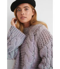 na-kd trend chunky cable knitted sweater - purple