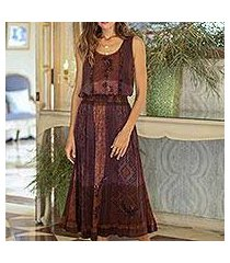 ruffled rayon skirt, 'russet fusion' (india)