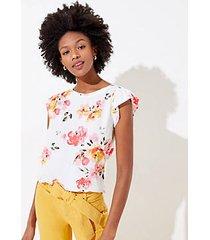loft blossom ruffle sleeve mixed media top