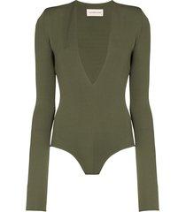 alexandre vauthier deep v-neck bodysuit - green
