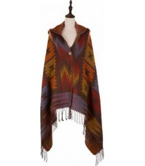 glitzhome muted earth-tone poncho with 2 button closure, tassels