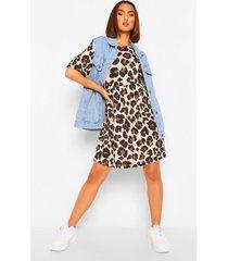 gesmokte luipaardprint jurk, meerdere