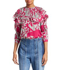 johanna ortiz women's same old song floral blouse - magenta - size 6