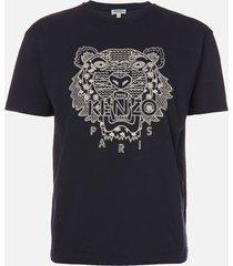 kenzo men's shibori tiger skate t-shirt - midnight blue - l