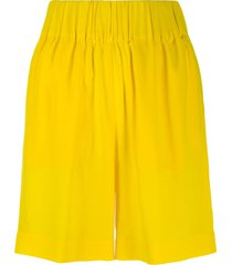 aspesi gathered wide leg shorts - yellow