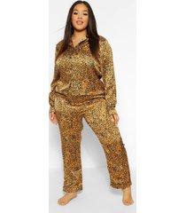 plus luipaardprint pyjama set met broek, mustard