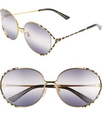 women's gucci 59mm gradient round sunglasses - gold/ grey triple gradient