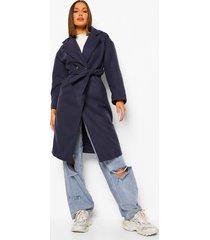 nepwollen jas met dubbele knopen en ceintuur, navy