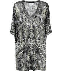 camilla multi-pattern print kaftan dress - black