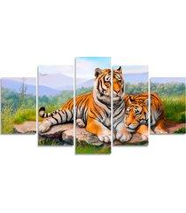 quadro decorativo casal tigre natureza quarto sala casa