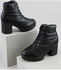 bota coturno feminina vizzano cano curto salto grosso médio tratorado preta