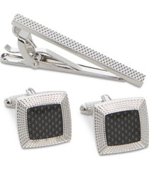 perry ellis men's textured dome cuff links & tie bar set
