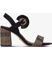 sandalett med textilkädd klack