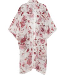 women's large floral print kimono ivory multi one size from sole society