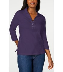 karen scott cotton lace-up shirt, created for macy's