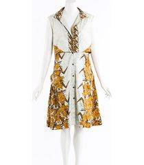 proenza schouler floral print midi shirt dress white/orange/floral print sz: s