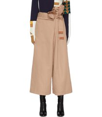 leather-trimmed bow detail wide leg wrap pants