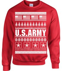 us army ugly sweater design american flag christmas unisex crew sweatshirt 1709