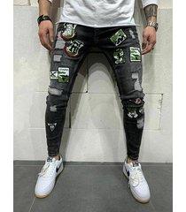 estampado de bordado flaco rasgado elástico para hombre jeans