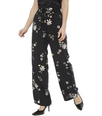 pantalón jacqueline de yong floreado negro - calce holgado