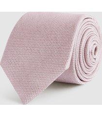 reiss ceremony - textured silk tie in pink, mens