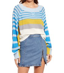 women's free people block party pullover, size large - blue