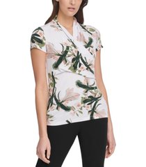 dkny floral-print ruched top