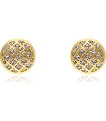 orecchini a lobo in oro bicolore forma bottone a specchio per donna