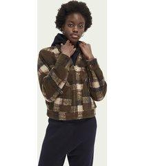 scotch & soda checked wool-blend jacket