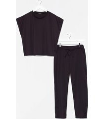 womens crop of our list tank top and cropped pants set - black