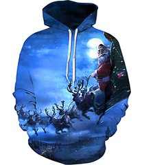 christmas gift sweatshirts men/women 3d hoodies print deer carriage christmas