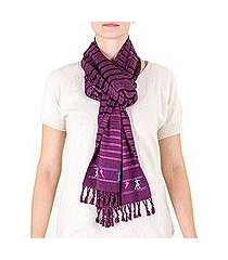 cotton scarf, 'birds on violet' (guatemala)