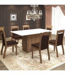 mesa de jantar 6 lugares valsa dover/chocolate/branco - mobilarte móveis